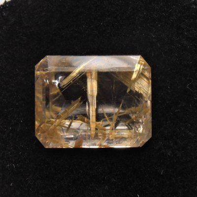 emerald cut rutilated quartz