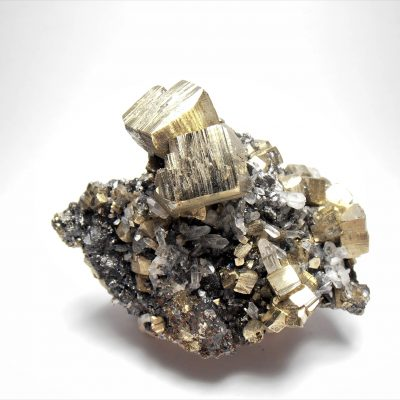 Pyrite on Quartz with Sphalerite from Huaron Mining District