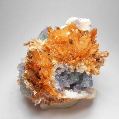 Creedite with Fluorite from the Mina Navidad, Abasolo, Durango