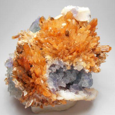 Creedite with Fluorite from the Mina Navidad, Abasolo, Durango