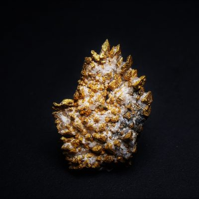 Gold Crystals with Adularia from the Round Mountain Mine - 12 mm