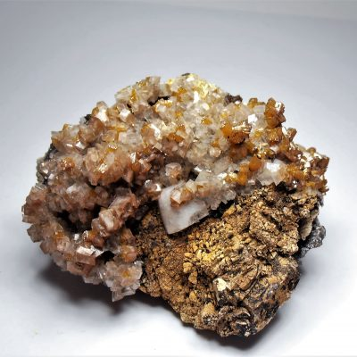 Mimetite on Wulfenites and Calcites - Ojuela Mine in Mapimi