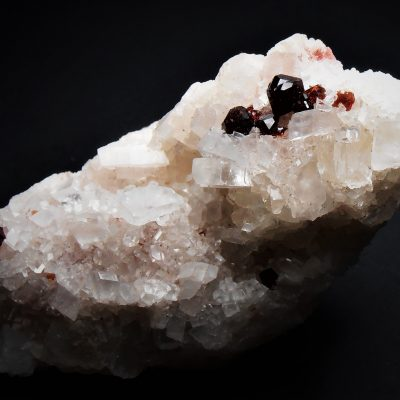 Magnesite with Red Uvite Tourmalines from the Pomba Pit