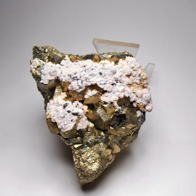 Pyrite with Rhodonite from the Huanzala Mine