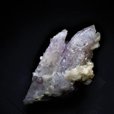 Apophyllite on Amethystine Quartz - Fengjashan Mine