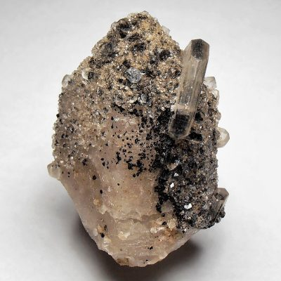 Hubeite and Apophyllite on Quartz - Fengjashan Mine