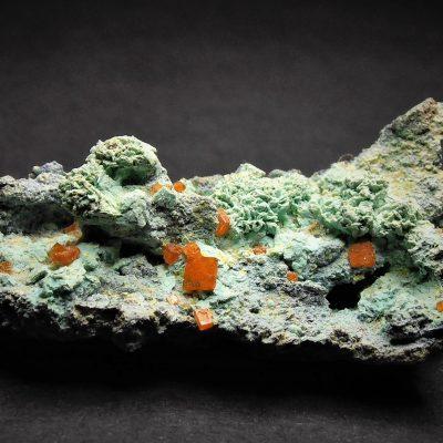 Wulfenite on Chrysocolla from the 79 Mine, Arizona
