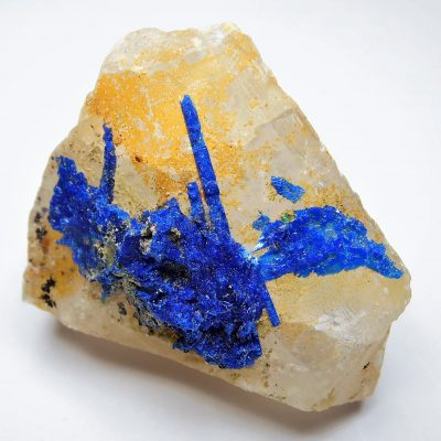 Linarite on Barite from the Mex-Tex Mine, New Mexico