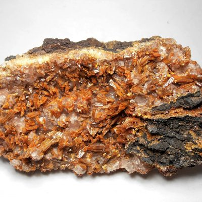 Vanadinite on Calcite from the San Carlos Mine, Chihuahua