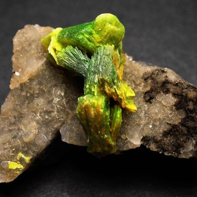 Autunite - Book-Like Crystal Clusters on Matrix from Hunan