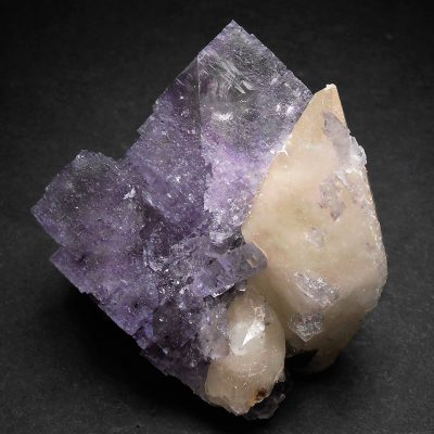 Fluorite - Etched Crystal with Penetrating Calcites from the Elmwood Mine