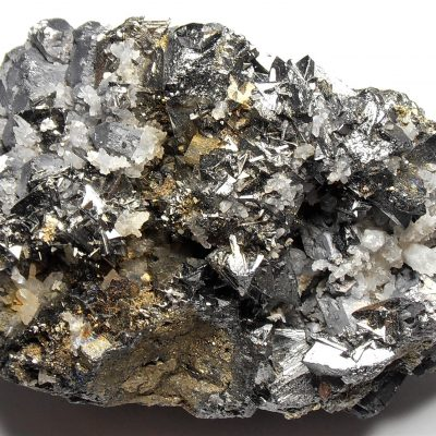 Tetrahedrite - Bright Crystals on Galena from Huaron