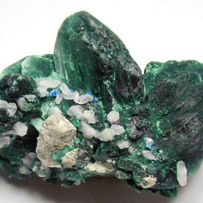 Malachite after Azurite with Quartz xls - Milpillas