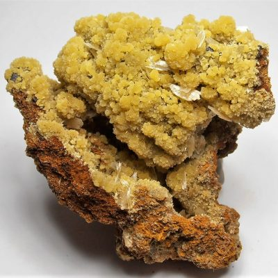 Mimetite with Barite from the Santa Eulalia District, Chihuahua