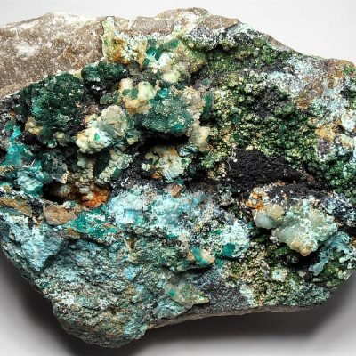 Dioptase with Copper Mineral Mix - Cobra Mine, Pampa Nazca