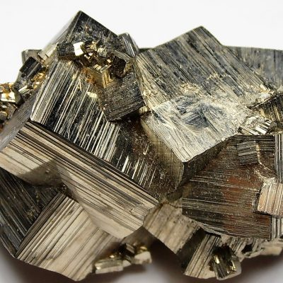 Pyrite - Striated Cubic Crystals from the Huanzala Mine