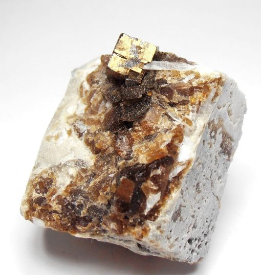 Fluorite - Golden-Bronze Iridescent crystals - Clay Center
