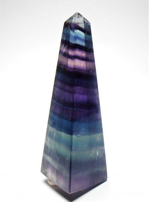 """Polished """"Rainbow"""" Fluorite Obelisk from China"""