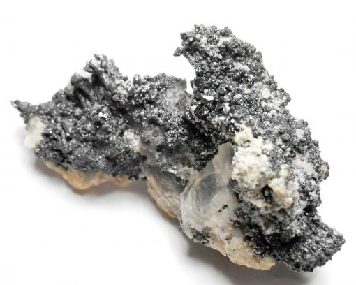 Acanthite on Quartz - La Sirena Mine, Guanajuato