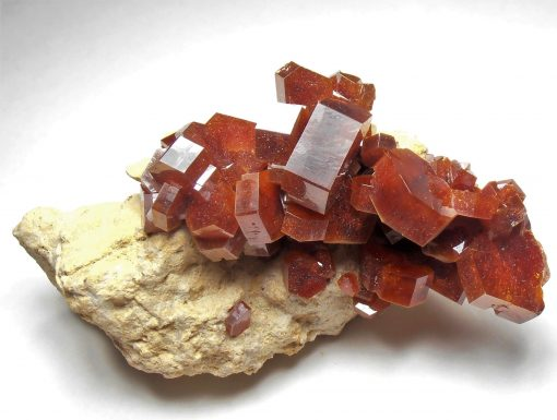 Vanadinite - Large Bright Crystals on Matrix from Mibladen